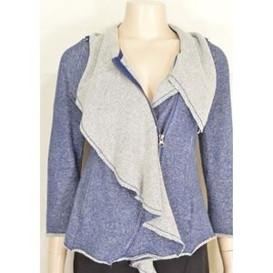 Sugarfly jacket sz L blue gray moto style zipper 1